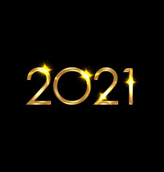 2021 happy new year numbers gold shiny texture vector image