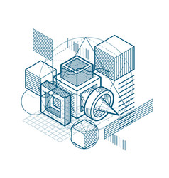 abstract 3d shapes composition isometric vector image