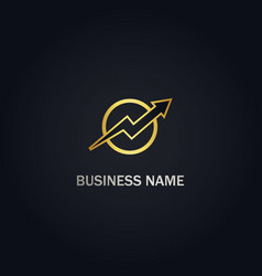 arrow up progress gold logo vector image