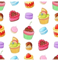 Assorted colorful desserts cupcakes and macaroons vector