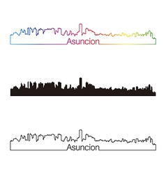 Asuncion skyline linear style with rainbow vector