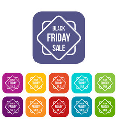 black friday sale sticker icons set vector image