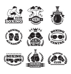 Boxing club or mma fighting labels monochrome vector