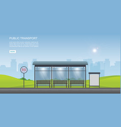 bus stop with city view background and empty vector image