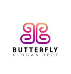 Butterfly letter b logo design vector