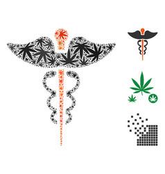 caduceus mosaic of cannabis vector image