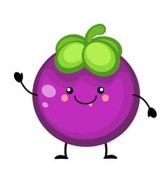 cartoon mangosteen fruit vector image