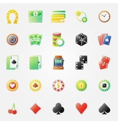 Casino icons bright set vector image vector image