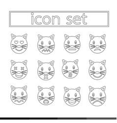 Cat emotion icon set design vector