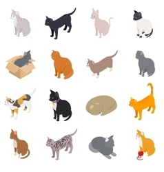 Cat icons set isometric 3d style vector