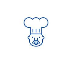 chef mascot line icon concept chef mascot flat vector image