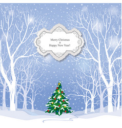Christmas background snow winter landscape vector