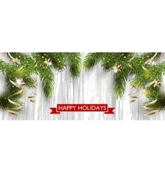 Christmas design with fir tree on wooden vector image