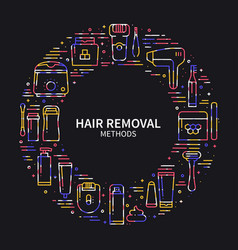 Circle frame with hair removal methods symbols in vector