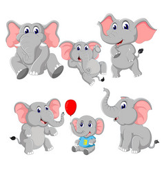 collection of the elephant and baby elephant vector image