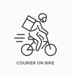 courier on bike line icon outline vector image