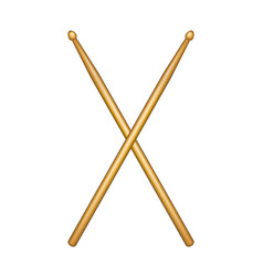 crossed pair of wooden drumsticks vector image