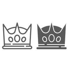 crown line and glyph icon king and leader royal vector image