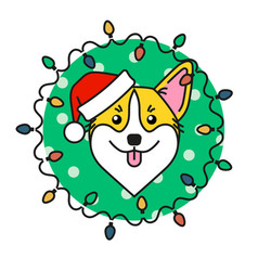cute corgi dog in santa hat with christmas lights vector image