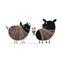 cute couple of pigs symbol of 2019 for your vector image