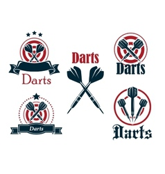 Darts icons emblems or symbols vector