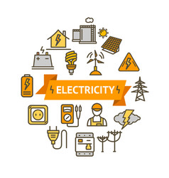 Electricity signs round design template thin line vector