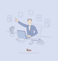 Employer giving out commands mad office worker vector