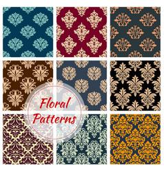 floral damask seamless patterns set vector image
