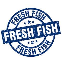 Fresh fish blue round grunge stamp vector