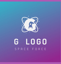 G initial space force logo design galaxy rocket vector
