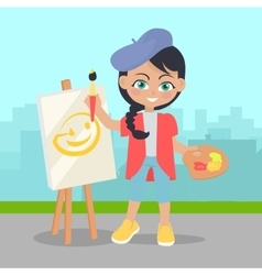 Girl drawing on easel on landscape of urban city vector