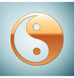 Gold Yin Yang symbol icon on blue background vector