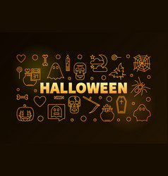 halloween horizontal holiday yellow line vector image