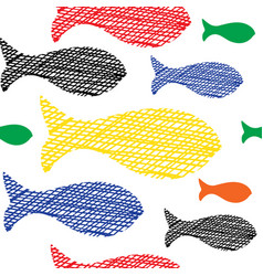 hand drawn doodle fishes seamless pattern vector image