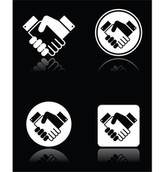 Handshake white icons set on black background vector image