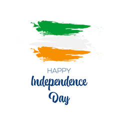 happy independence day handwritten text with flag vector image