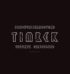 hollow geometric sans serif font in viking style vector image