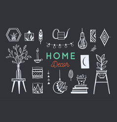Home decor and house plants hand drawn set vector