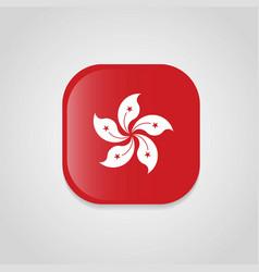 hong kong flag design round button vector image