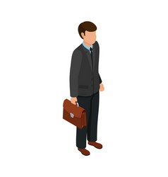 isometric friendly caucasian businessmen holding vector image