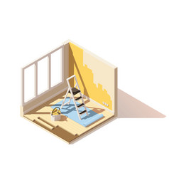 Isometric low poly home renovation icon vector