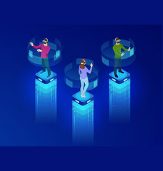 isometric men and a woman wearing goggle headset vector image