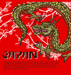 Japanese dragon and sakura branch travel vector