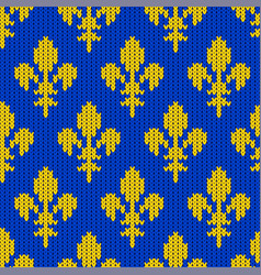 knitted bourbon lily on a blue background vector image vector image