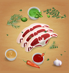 lamb with tasty sauces and spices vector image