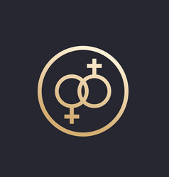 Lesbian couple icon in circle vector