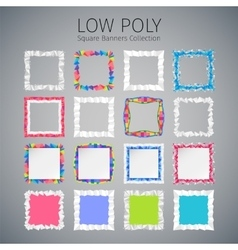 Low Poly Square Banners Set vector image