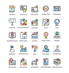 maps and navigations flat icons set vector image