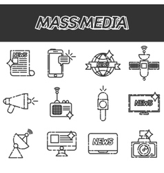 Mass media icons set vector
