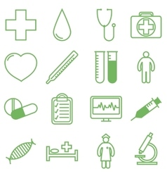 Medical icons set in linear vector image